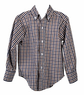Funtasia Too Boys Navy Blue / Brown Plaid Dress Shirt