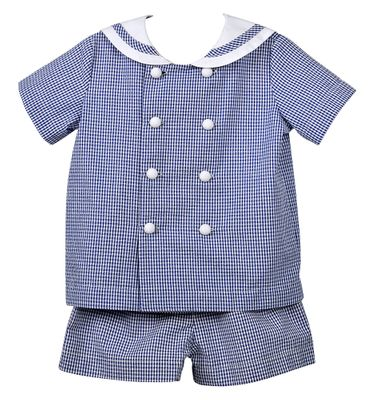 Funtasia Too Boys Navy Blue Seersucker Sailor Suit Shorts Set