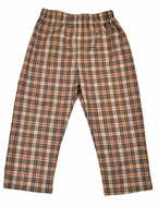 Funtasia Too Boys Pull On Pants - Tan Burberry Plaid