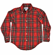 Funtasia Too Boys Red Holiday Plaid Button Down Dress Shirt