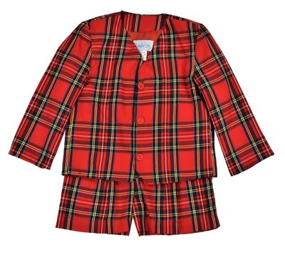 Funtasia Too Boys Red Holiday Plaid Eton Suit - Shorts & Jacket
