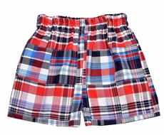 Funtasia Too Boys Red & Navy Blue Patriotic Plaid Madras Patchwork Shorts