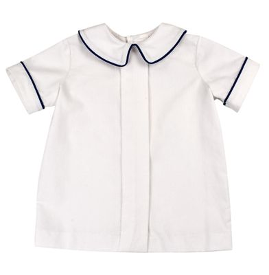 Funtasia Too Boys Winter White Corduroy Pleat Front Shirt - Cadet Blue Piping