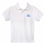 Funtasia Too Boys White Polo Shirt - Blue Check Easter Bunny