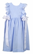 Funtasia Too Girls Blue Check Seersucker Pinafore Dress with White Side Bows
