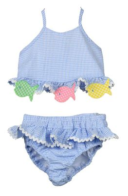 Funtasia Too Girls Blue Seersucker Fish Ruffle Swimsuit - Two Piece