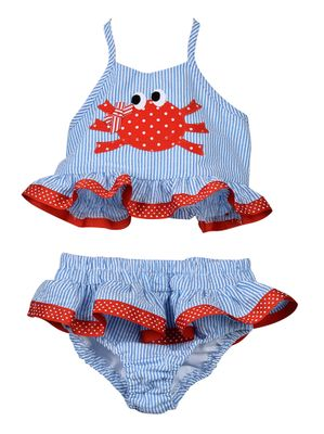 Funtasia Too Girls Blue Seersucker Ruffle Swimsuit - Red Crab - Two Piece