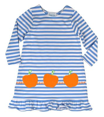 Funtasia Too Girls Blue Stripe Knit Dress - Orange Pumpkins