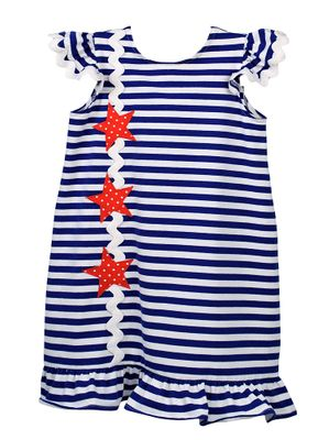 Funtasia Too Girls Blue Striped Patriotic Stars Knit Dress