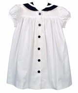 Funtasia Too Girls Classic Sailor Suit Dress - White with Navy Blue Trim