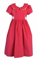 Funtasia Too Girls Corduroy Dress with Rick Rack - Hot Pink Fuchsia