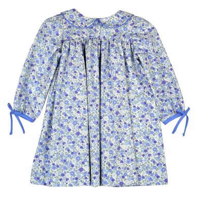 Funtasia Too Girls French Blue Floral Dress with Bows on Sleeves