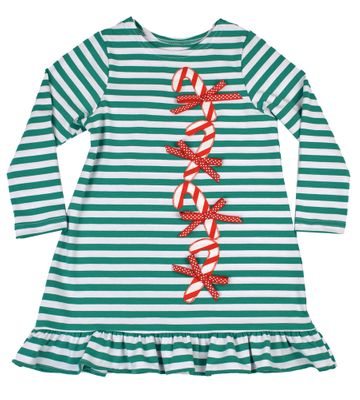 Funtasia Too Girls Green Striped Knit Dress - Applique Candy Canes