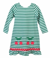 Funtasia Too Girls Green Striped Knit Dress - Cherries