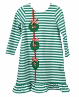 Funtasia Too Girls Green Striped Knit Dress - Christmas Wreaths
