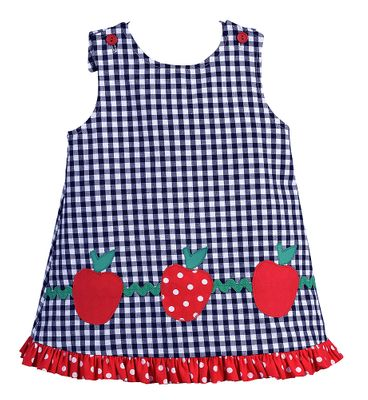 Funtasia Too Girls Navy Blue Gingham Reversible Jumper Dress - Apples and Ladybugs