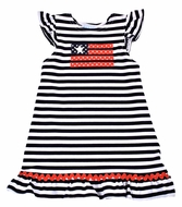 Funtasia Too Girls Navy Blue Stripe Knit Patriotic Flag Dress