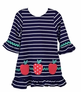 Funtasia Too Girls Navy Blue Striped / Red Apples Back to School Knit Dress