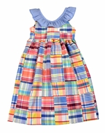 Funtasia Too Girls Pastel Patchwork Sun Dress - Blue Ruffle Collar