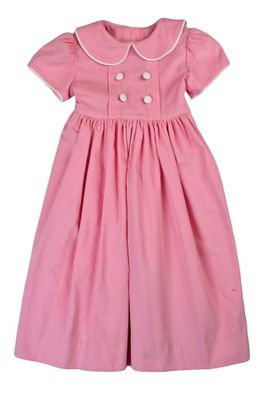 Funtasia Too Girls Pink Corduroy Dress - Tucks and Buttons - White Sash in Back