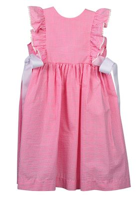 Funtasia Too Girls Pink Gingham Pinafore Dress with Side Bows