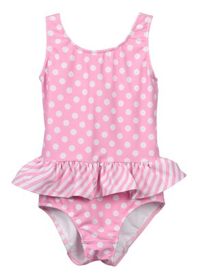 Funtasia Too Girls Pink Polka Dots Ruffle Swimsuit