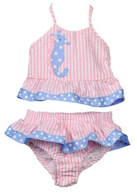 Funtasia Too Girls Pink Stripe Blue Seahorse Swimsuit - Two Piece