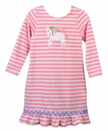 Funtasia Too Girls Pink Striped Knit Unicorn Dress