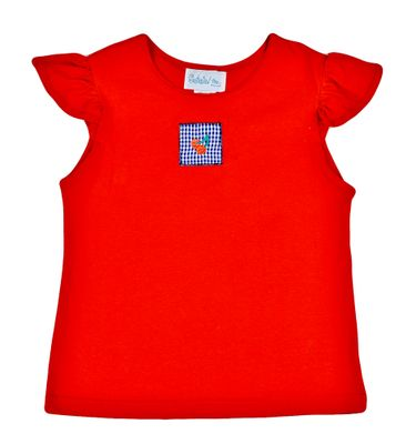 Funtasia Too Girls Red Angel Sleeve Top with Cherry