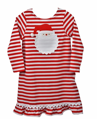 Funtasia Too Girls Red Candy Cane Stripe Knit Dress - Applique Santa Face