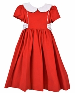Funtasia Too Girls Red Corduroy Christmas Dress - White Collar and Sash