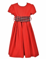 Funtasia Too Girls Red Corduroy Dress with Holiday Plaid Sash