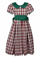 Funtasia Too Girls Red Holiday Plaid Dress - Green Collar and Sash