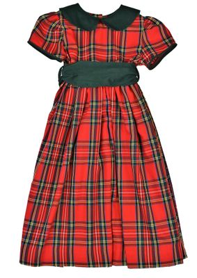 Funtasia Too Girls Red Holiday Plaid Christmas Dress with Green Collar and Sash