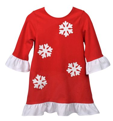 Funtasia Too Girls Red Knit Dress - Christmas Snowflakes