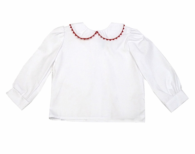 Funtasia Too Girls White Blouse - Long Sleeves / Peter Pan Collar with Rick Rack Trim - Red