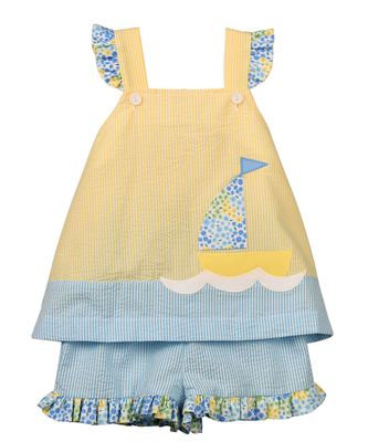 Funtasia Too Girls Yellow / Aqua Seersucker Sailboat Shorts Set