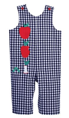 Funtasia Toddler Boys Reversible Navy Blue Gingham Longall - Apples and Trains