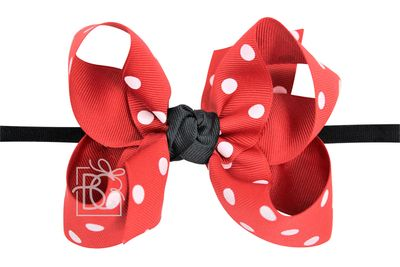 """Beyond Creations Girls 1/4"""" Black Pantyhose Headband with Attached Bow - Red with White Dots"""