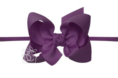 "Girls 1/4"" Pantyhose Headband with Attached Bow - Grosgrain - Amethyst Purple"