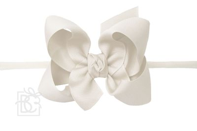 "Girls 1/4"" Pantyhose Headband with Attached Bow - Grosgrain - Antique White"