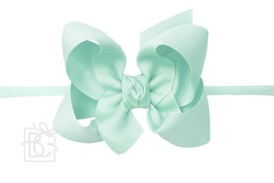 "Girls 1/4"" Pantyhose Headband with Attached Bow - Grosgrain - Aquamarine"