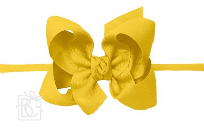 "Girls 1/4"" Pantyhose Headband with Attached Bow - Grosgrain - Bright Yellow"