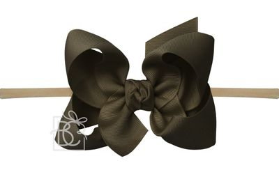 """Girls 1/4"""" Pantyhose Headband with Attached Bow - Grosgrain - Brown"""