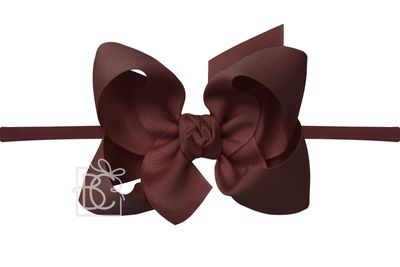 """Girls 1/4"""" Pantyhose Headband with Attached Bow - Grosgrain - Burgundy"""