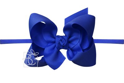 """Girls 1/4"""" Pantyhose Headband with Attached Bow - Grosgrain - Electric Royal Blue"""