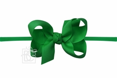 "Girls 1/4"" Pantyhose Headband with Attached Bow - Grosgrain - Emerald Green"