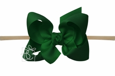 "Girls 1/4"" Pantyhose Headband with Attached Bow - Grosgrain - Forest Green"