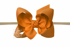 "Girls 1/4"" Pantyhose Headband with Attached Bow - Grosgrain - Ginger"