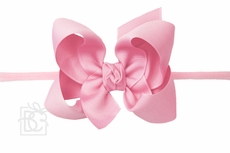 "Girls 1/4"" Pantyhose Headband with Attached Bow - Grosgrain - Hot Pink"